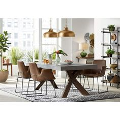 Covered in gorgeous brown stitched faux leather, this steel dining chair has a sophisticated air. 32 high x 23 wide x 23 deep. Seating area is 23 wide x 18 deep. Style # at Lamps Plus. Large Round Dining Table, Metal Dining Table, Dining Room, Dining Tables, Dining Area, Brown Leather Chairs, Faux Leather Dining Chairs, Spacious Living Room, Living Spaces
