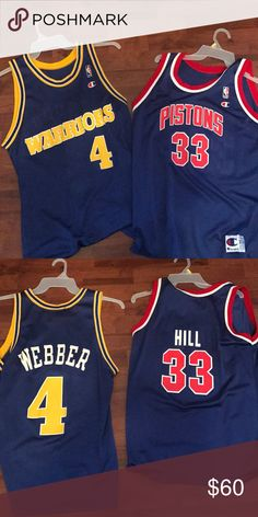 2 vintage basketball jerseys Chris Webber (Warriors)   Grant Hill (pistons)  Champion 118dba278