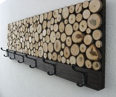 Maple Wood Slice Rustic Wood Coat Rack - Towel Rack, and I imagine its not too hard to make!