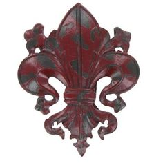 $5.99  Red Fleur-De-Lis Wall Plaque | Shop Hobby Lobby--got it--UNDER CABINET BY WINDOW CENTER BETWEEN KITCHEN & BLESS HOME SIGN