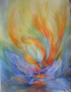 Looks like woman praying. Colorful prophetic art. Galleria miei lavori - Irma Stropeni