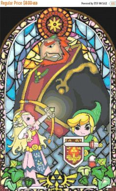 """ON SALE Counted Cross Stitch Patterns - nintendo zelda stained glass - 13.79"""" x 21.93"""" - L1067"""