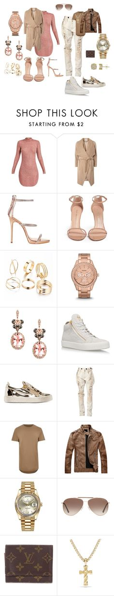 Date Night Outfits by sabrina19wilson on Polyvore featuring Dorothy Perkins, Stuart Weitzman, Giuseppe Zanotti, FOSSIL, Effy Jewelry, Faith Connexion, Rolex, River Island, Tom Ford and Louis Vuitton