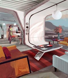 Why have the futurist interiors we envisioned never manifested in reality? - H Jparked Spaceship Interior, Futuristic Interior, Futuristic Art, Futuristic Architecture, Architecture Design, Science Fiction Kunst, Syd Mead, Bg Design, Sci Fi Environment