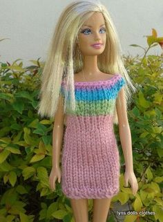 barbies multi colour knitted dress.  Free pattern on Ravelry