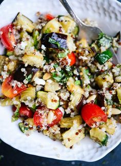 Mediterranean Quinoa Salad with Roasted Summer Vegetables | cookieandkate.com