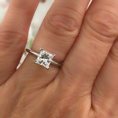 Tiffany and Co. Platinum Diamond Engagement Ring Princess Carat E For Sale at Princess Wedding Rings, Tiffany Wedding Rings, Engagement Rings Princess, Classic Engagement Rings, Princess Cut Rings, Platinum Engagement Rings, Designer Engagement Rings, Diamond Wedding Rings, Engagement Ring Settings