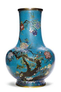 A LARGE PAIR OF CLOISONNÉ ENAMEL 'BIRD AND POMEGRANATE' VASES<br>QING DYNASTY, 19TH CENTURY | Lot | Sotheby's