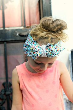 Polka Dot Floral reversible Baby Toddler Adult Hair by DixieBloom