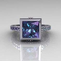 Classic Bridal 14K White Gold 2.5 Carat Square Princess Alexandrite Ring R309-14WGAL