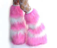 Sparkle Rave Fluffies Striped Candy Pink and White Furry leg warmers