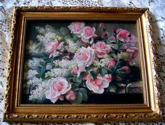 Pink Roses Lilacs Print Raoul de Longpre Gold Frame