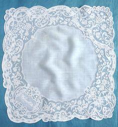 An amazing handkerchief of muslin applique on machine net from the 5/10/2015 Ebay Alerts.