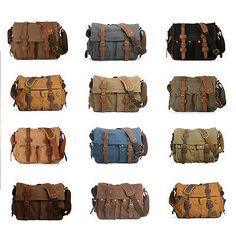 Men's Vintage Canvas Leather Messenger Shoulder Bag Military Satchel Hiking Bag   eBay