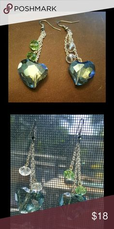 NEW! Dangle Blue Heart Crystal Earrings Display colors are shown above: Crystal, and green. You can choose which color choice you would like, I have these displayed to clearly show each color choice. I will make these earrings to order Creation Central Jewelry Earrings