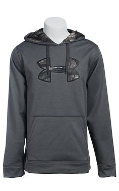 Under Armour Men's Carbon Heather with Camo UA Storm Armour Fleece Caliber Hoodie