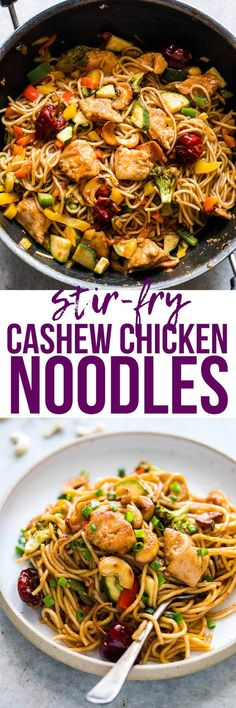Chinese Cashew #Chicken Noodles Stir-Fry is a delicious, easy take on your favourite take-out cashew chicken #recipe. Crispy bits of chicken and noodles are tossed in a super flavourful, spicy sauce and roasted #cashews for a meal that the whole family wi