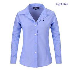 f80acf2692 Nuevo 2016 Blusas mujeres Tops cuello solapa manga corta de Color sólido  rayas OL elegante de
