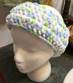 Handmade Crocheted Jogging Headband or Winter Ear Cover Chenille Soft Blue Green White