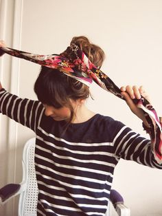 Took forever to find this original post... 3 ways to wear a scarf in your hair (the site is in french... just fyi).