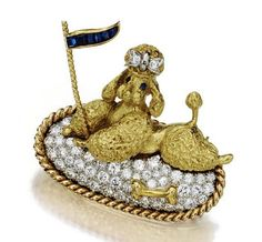 Gold, Diamond and Sapphire Poodle Brooch, circa 1950