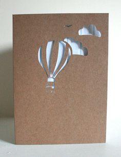 Cut out hot air balloon card. Cut card, Solihoutte