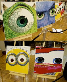 Pixar and Dreamworks lego portraits: Mike Wazowski, Megamind, Minion and Lightning McQueen
