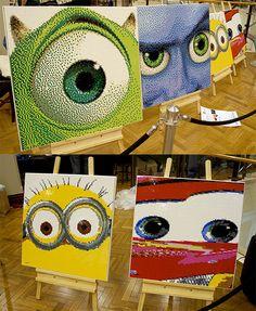 Pixar and Dreamworks lego portraits: Mike Wazowski, Megamind, Minion and Lightning McQueen