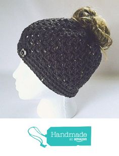 cd5448d7cee41 Amazon.com  Handmade Messy Bun Hat Aran Graphite Gray Beanie Wood Button  Crochet Pony Tail Top Knot Runner Grey Cloche  Handmade
