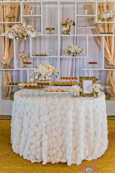 Opulent Wedding Desserts in Blush and Gold with a Floral Chiffon Linen | Jasmine Lee Photography | Sequins and Rose Gold - A Decadent Dessert Display Too Pretty to Eat!