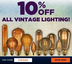 Style for less with nostalgic antique bulbs from 1000Bulbs.com. The code VINTAGE will take 10% off all vintage incandescent and LED bulbs. #lightdifferently Edison Bulbs, Edison Lighting, Vintage Light Bulbs, Vintage Lighting, Vintage Shops, Led, Antiques, Style, Vintage Lamps