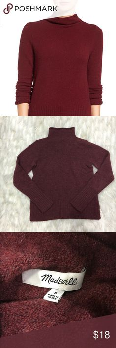 "Madewell inland turtle neck pull over SZ S Brand: Madewell  Style: inland sweater pull over burgundy #F8882 Size: women's small 17 1/2"" armpit to armpit 22"" length  GUC some piling hard to tell in pictures no major damage no rips holes or stains   Questions welcomed. Fast replies. Same day shipping 💄Happy Poshing 677 Madewell Sweaters Cowl & Turtlenecks"