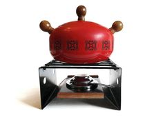 Fondue Pot MidCentury Red Wood Knobs by NoNameCatVintage on Etsy, $45.00