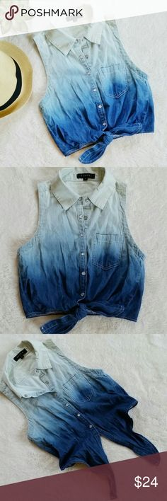 """Fiore Blue Ombre Cropped Shirt Fiore Blue Ombre Cropped Shirt with front tie details. Size small. Pit to pit is 16"""" flat and shoulder to hem is 16"""". In great pre-loved condition. fiore Tops Crop Tops"""
