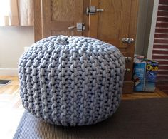 This Giant Rope Pouf ($300) would be a great addition to a Summer | Cool Crochet For Your Modern Home | POPSUGAR Home