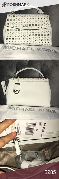 Michael Kors Purse Beautifully designed white Michael Kors Purse. New with tags. Original price $300. Asking 285 or best offer Michael Kors Bags Shoulder Bags