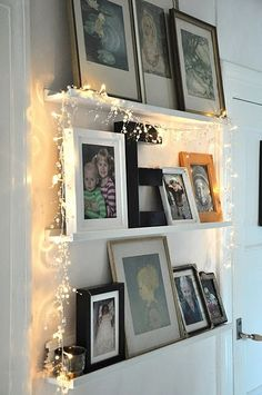 fairy lights and photo frames