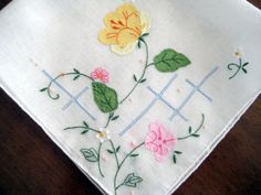 Vintage Hanky Linen Organdy, Appliqued Flowers, Embroidery & Pulled Thread. Excellent