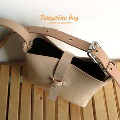 tangerine bag · leather & wool felt