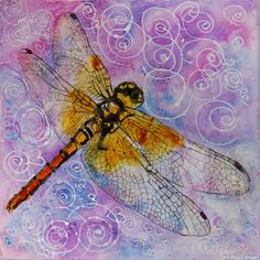 Bellflower Purple Dragonfly Watercolor Painting Painting at ArtistRising.com