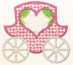 Princess Carriage Machine Embroidery Design. , via Etsy.