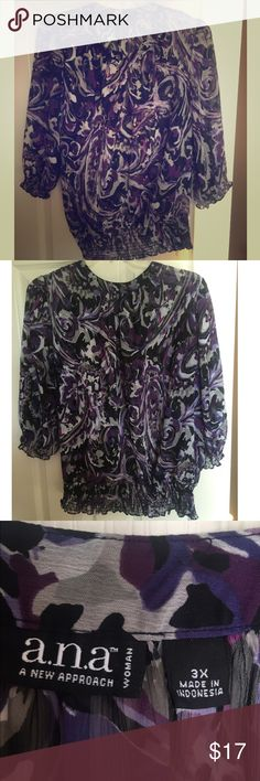 """Purple and black banded hem top. Purple and black banded hem top. Bought on Poshmark and LOVE it, however just not a good fit. Too short. 29"""" across bust/armpit 24"""" hem 24"""" long. Beautiful top. Wish it for. My loss, your gain. Just asking what I paid for it. a.n.a Tops Blouses"""