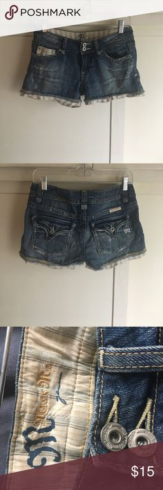 Miss Me   Distressed Jean Shorts Jean shorts with striped linen lining/trim. High quality material, worn twice. The fit is a little snug, as this is not cheap stretch denim. Distressed look (purchased that way, not damaged!) Miss Me Shorts Jean Shorts