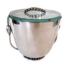 Silver Ice Bucket W/ Mercury Glass Liner on Chairish.com