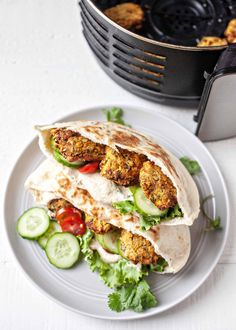 Falafel made in the air fryer is crunchy on the outside and soft in the middle. Stuff them in a pita packed with veggies and tahini sauce for an easy, quick meal! Falafel With Canned Chickpeas, Air Fryer Healthy, Cooking Recipes, Healthy Recipes, Gf Recipes, Cooking Ideas, Veggie Recipes, Tahini Sauce, Air Fryer Recipes