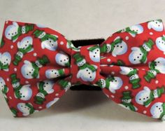 Christmas Dog Flower or Bow Tie  - Snowmen
