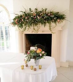 Fliage heavy mantlepiece design with a peppering of flowers Wedding Mantle, Wedding Fireplace, Wedding Planning Inspiration, Wedding Flower Inspiration, Altar, Vase Arrangements, Floral Centerpieces, Spring Wedding Flowers, Floral Wedding