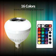 Colorful RGB LED Bluetooth Bulb Wireless Music Audio Speaker E27 6W Light Lamp