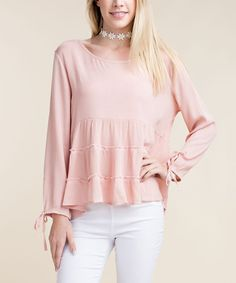 Peach Tiered Peasant Top