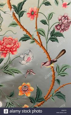 Detail of a painted silk wall covering in in Palace Charlottenburg, the former home of Luise, Queen consort of Frederick William III, King of Prussia (1776ø1810), in Berlin, Germany, 27 January 2010. The exhibition 'Life and Myth of the Queen' is scheduled to open on 06 March 2010 in the authentically reconstructed New Wing of the palace within the scope of series 'Miss Prussia 201 Stock Photo